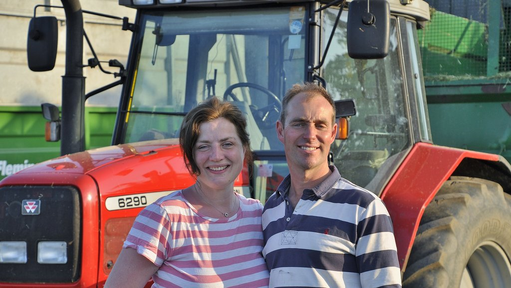 Dairy farmer Andrew Rees is pictured with his wife and business partner Abigail. The Rees family have been tenants on the Wyggeston Hospital Trust estate in Leicestershire since 1960.