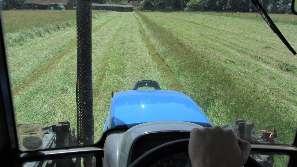 View from the cab shows how easily the LED guidance bars can be seen from the driver's seat. The onTrak system can be used on everything from an ATV to the bonnet of a 300hp articulated tractor pulling a cultivator, for example.