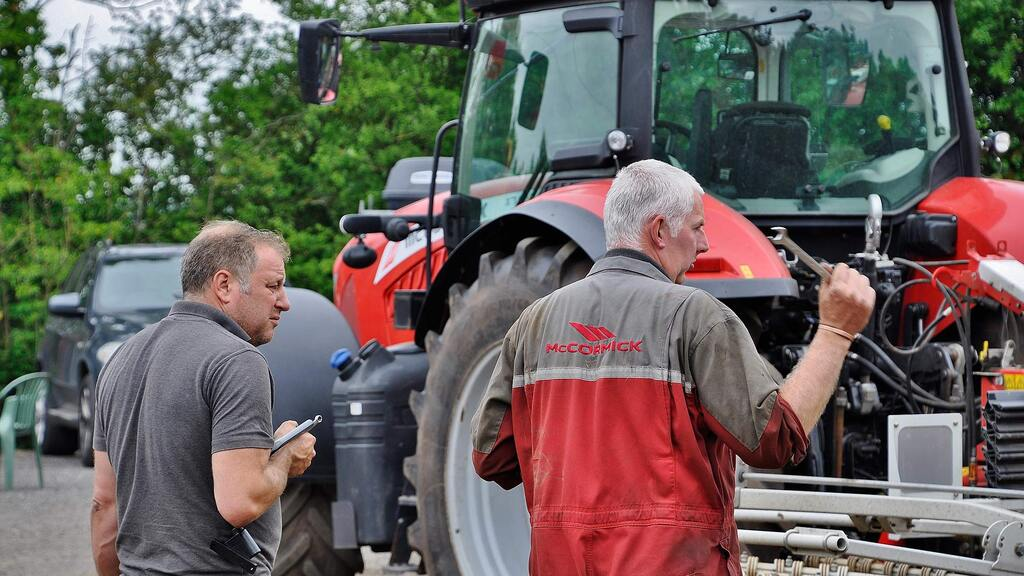 One of Mr Catley's primary roles is to support his workshop team. Here he talks with agri-engineer Simon Roberts about a repair on Pottinger 12.5m rake belonging to a local contractor.