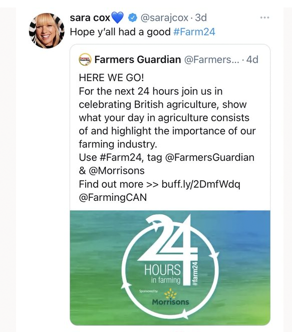 Radio DJ Sara Cox gave a nod to her farming roots as she shared her sentiment later in the day.Radio DJ Sara Cox gave a nod to her farming roots as she shared her sentiment later in the day.